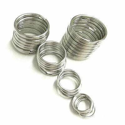 Stainless Steel Keyring Blanks Split Key Rings 10-50mm Loop Silver Key chain DIY 3