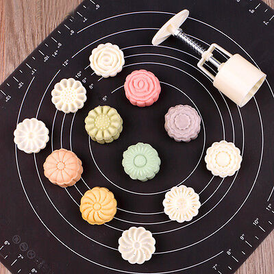 6 Style Stamps Round Flower Moon Cake Mold Mould White Set Mooncake Decor 50g 11