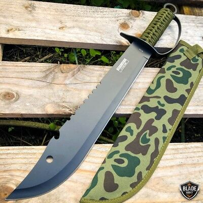 "19"" Jungle Machete Fixed Blade Hunting Knife Military Tactical Survival Sword 2"