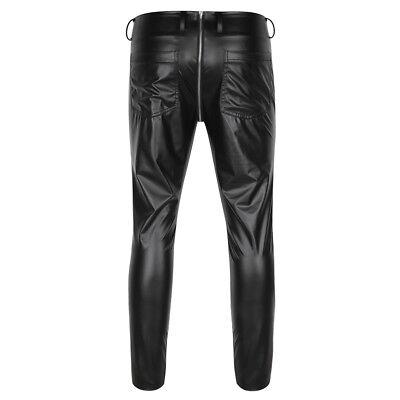 Herren Strumpfhose Wetlook Leggings schwarz Hosen Unterwäsche Pants mit Zipper 3