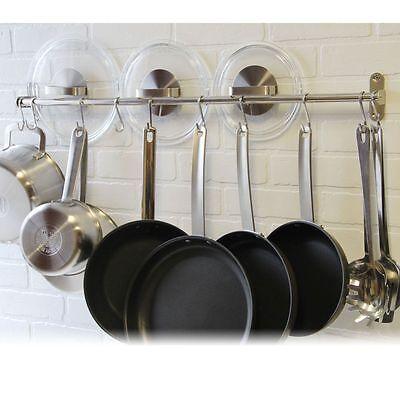 Wall Mount Rail 10 S Hooks Set Utensil Pot Pan Lid Holder Rack Kitchen Organizer 7