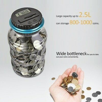 Coin Auto Counting MONEY JAR Cup Digital LCD Automatic Counter Piggy Bank Change 10
