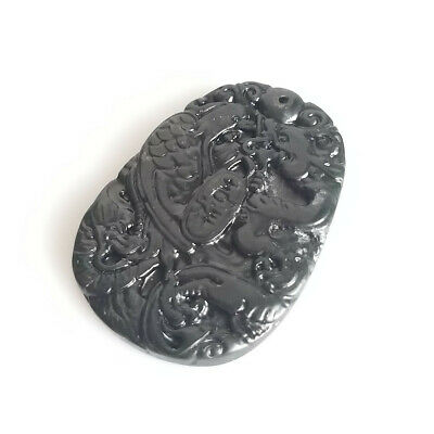 Natural Black Green Jade Chinese Carved Dragon Phoenix Necklace Pendant Gift 8