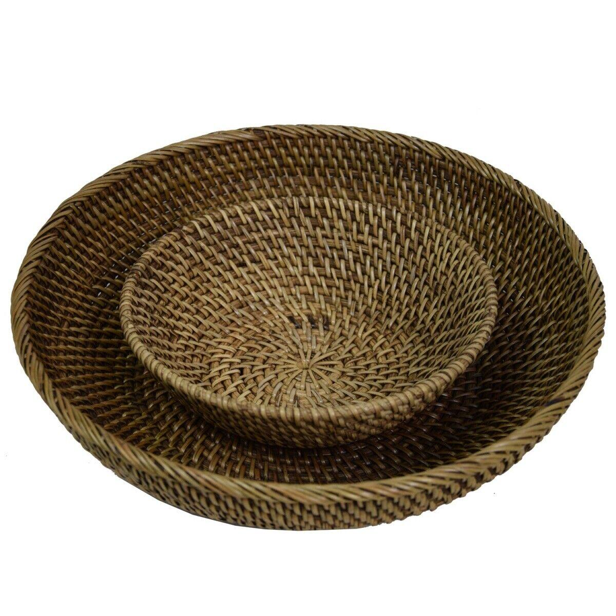 treccia ovale in rattan due pezzi per una vendita 35 x 14 x 7,5 cm ciotola in rattan fermentato in stile europeo Efforts