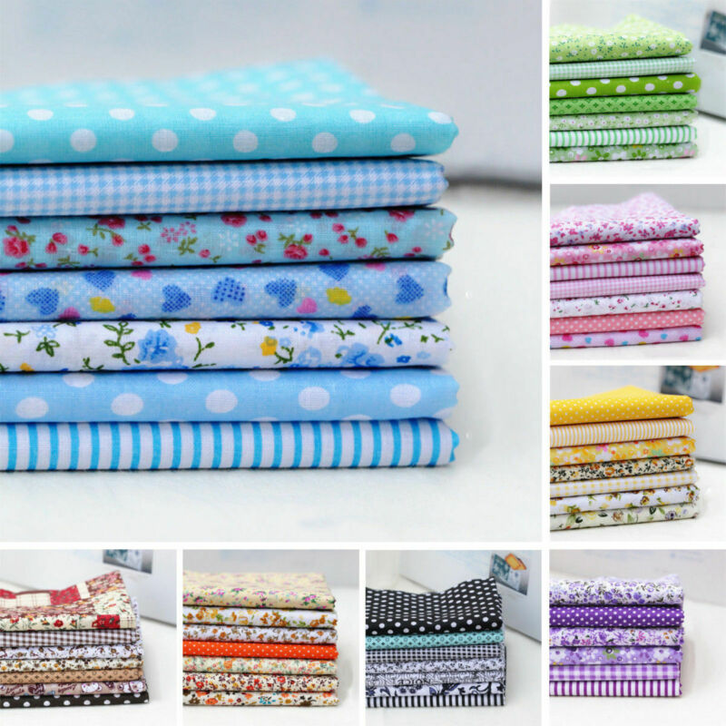 7PC Mixed Cotton Fabric Material Sewing Value Bundle Scraps Offcuts Quilting TOP 3