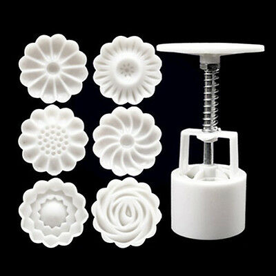 6 Style Stamps Round Flower Moon Cake Mold Mould White Set Mooncake Decor 50g 3