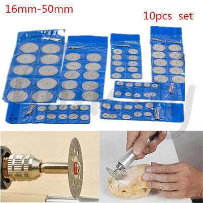 10pcs Diamond Saw Blade Cutting Disc Rotary Wheel Grinding +2 Mandrel Dremel 2
