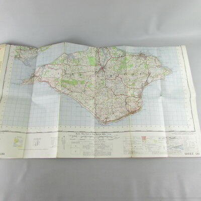 UK England 1968 VTG OS Ordnance Survey one-inch map 180 The Solent 4