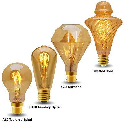 Vintage LED 2W Edison Style Filament Light Bulb B22 or E27 Twister ST58 A60 G95 2