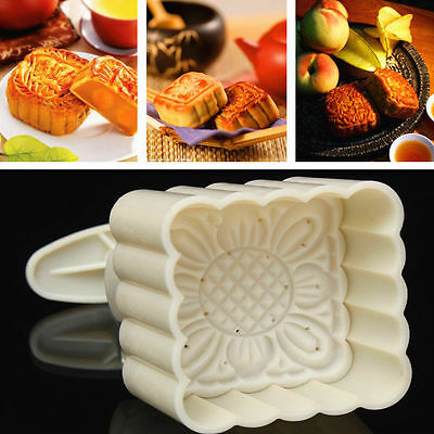 100g Square Baking Mooncake DIY Mold Pastry Biscuit Cake Mould Fower w/4 Stamps 3