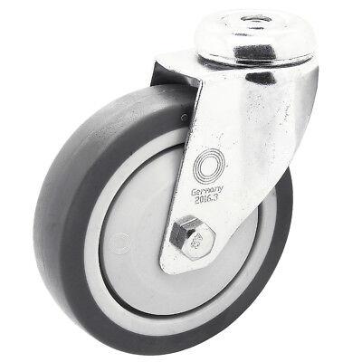 8 x Apparaterolle Rückenloch Lenkrolle Transport Möbelrolle Ø 75 mm Lenk-Brems