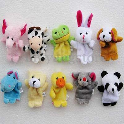 10/12X Family Finger Puppets Cloth Doll Baby Educational Hand Cartoon Animal Toy 3