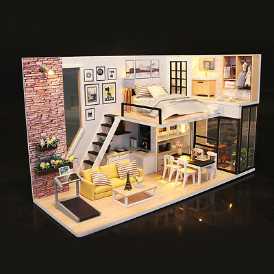 DIY LED Wooden Dollhouse Miniature Wooden Furniture Kit Doll House Kid's Toy AU 7
