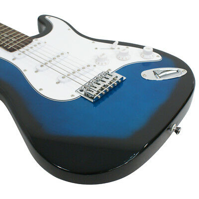 Full Size Blue Electric Guitar with Amp, Case and Accessories Pack Beginner 6