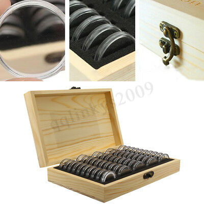AUS 100pcs Coin Capsule Holder Wooden Container Storage Box Display Case 3