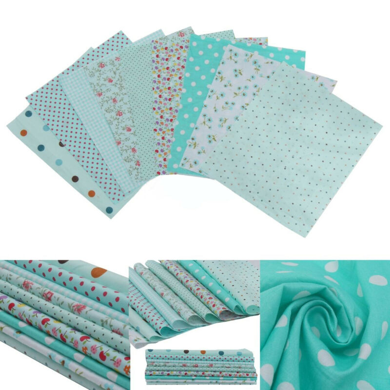 9pcs 20cm*25cm DIY Blue Cotton Fabric Patchwork Batiks Mixed Bundle Sewing Craft 2