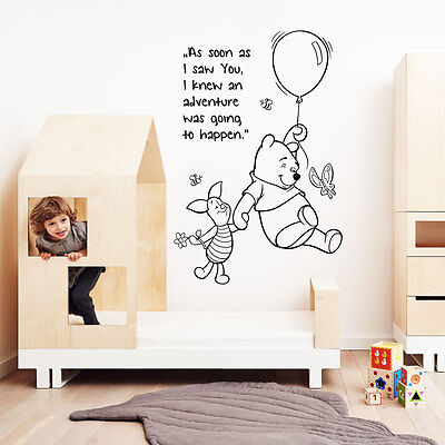winnie the pooh wall sticker quote kids boys girl bedroom baby