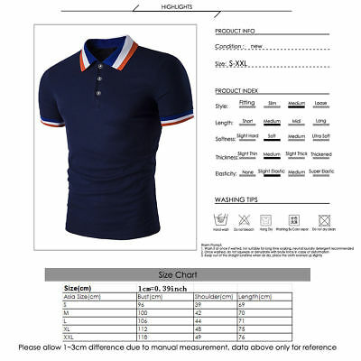 New Men's Slim Fit POLO Shirts Solid Short Sleeve Casual Golf T-shirt Tee Tops 2