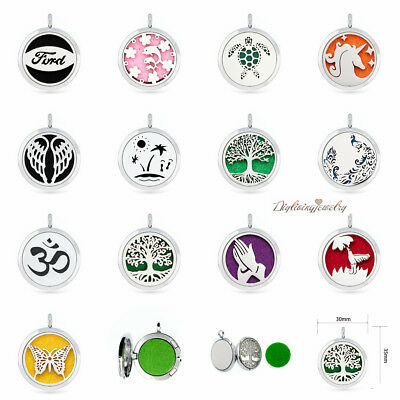 Aroma Diffuser 30mm pendant Necklace Lockets Perfume Essential Oil Aromatherapy 2