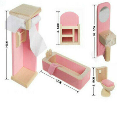 Kid Pink Wooden Furniture Dolls House Miniature 6 Room Set Doll For Gift DIY AR 10