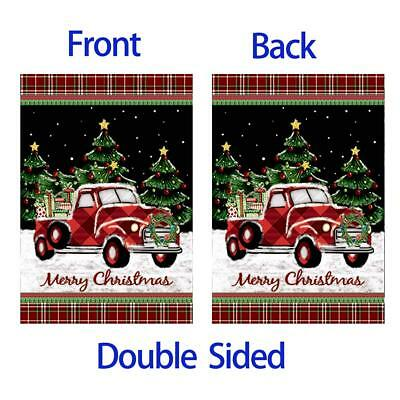 Neu Morigins Merry XMAS Red Truck with Gifts Double DIY Sided Flag Winter X4G0