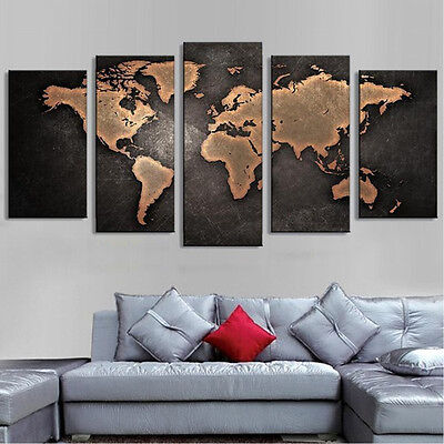 5PCS Unframed Vintage World Map Modern Canvas Print Wall Art Painting Picture 2