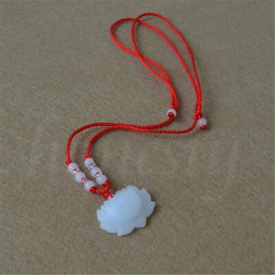2pcs Jade Carved Lotus Flower Pendant Necklace Beads Rope Chain Lucky Amulet