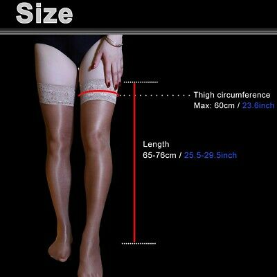Women's Shiny Glossy Stretchy Thigh High Stockings Lace Silicone Stay Up Hosiery 12