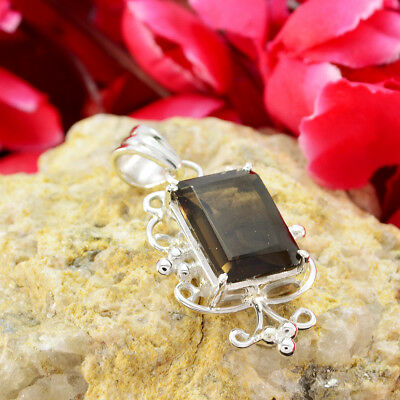 appealing Smoky Quartz 925 Sterling Silver Brown Pendant genuine gemstone US 2
