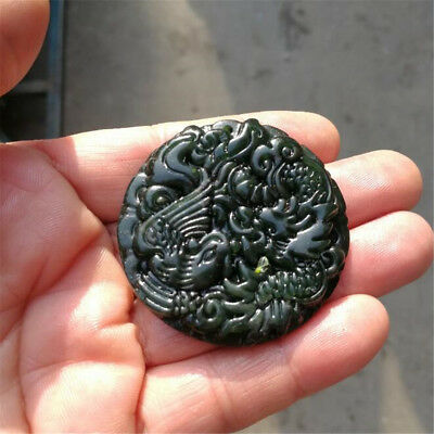 Chinese Natural Black Green Jade Pendant Dragon&Phoenix Good Lucky Amulet Gift 2