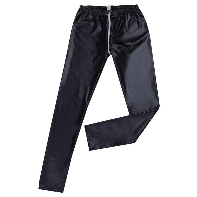 Damen Glänzend Sexy Gogo Wetlook Leggings mit Zwei Wege Reißverschluss Schwarz 7