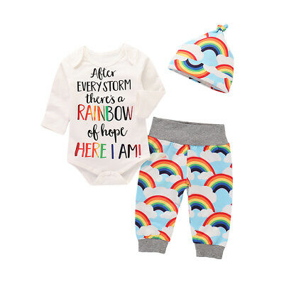 US Newborn Baby Boy Girl Tops Romper Bodysuit Jumpsuit Pants Outfits Clothes Set 5