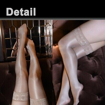 Women's Shiny Glossy Stretchy Thigh High Stockings Lace Silicone Stay Up Hosiery 7