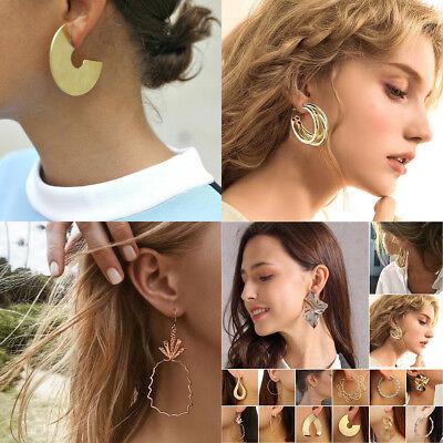 1 Pair Women Multi Style Circle Large Big Linked Hoop Dangle Long Earrings Studs 5