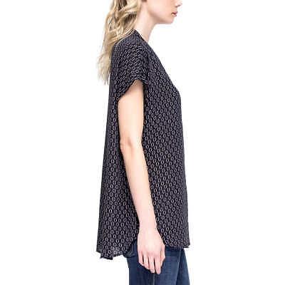 Size Large Black//Comma Print Pleione Ladies/' Short Sleeve Blouse NWT