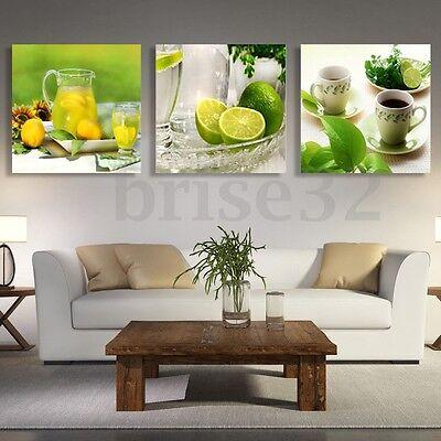3pcs Modern Lemon Tea Canvas Print Art Painting Wall Picture Home Decor Unframed 5