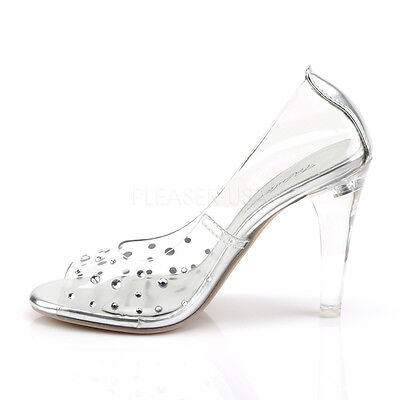 146fd10e278 CLEAR DISNEY PRINCESS Wedding Bridal Heels Glass Slippers Costume Shoes  size 7 8