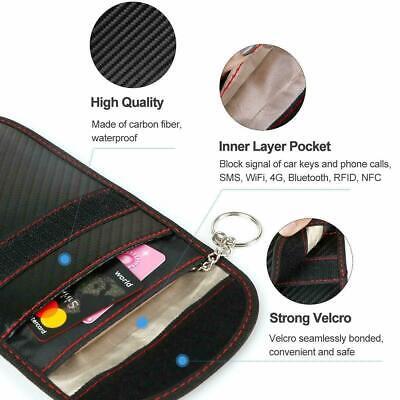 Black Car Key Signal Blocker Case Pouch Bag Faraday Cage Keyless RFID Blocking 4