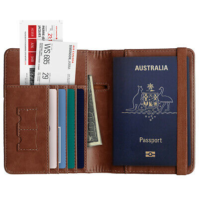 Travel Passport ID Card Wallet Holder Cover RFID Blocking Leather Purse Case AU 5