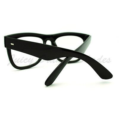 efd8b79bd9e ... Black Oversized Square Glasses Thick Horn Rim Clear Lens Frame 4