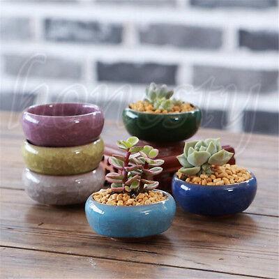 Ice-Crack Glaze Flower Ceramics Succulent Plant Mini Pot Garden Flowerpot Decor 2