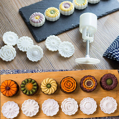 6 Style Stamps Round Flower Moon Cake Mold Mould White Set Mooncake Decor 50g 4