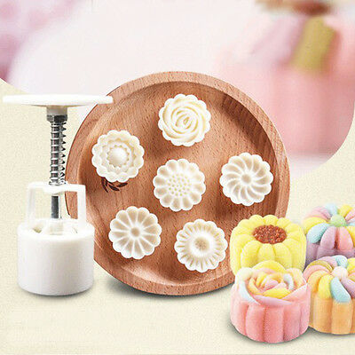 6 Style Stamps Round Flower Moon Cake Mold Mould White Set Mooncake Decor 50g 5