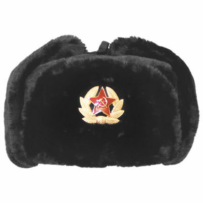 38c1ab20a RUSSIAN SOVIET ARMY USSR Badge Real Military Fur Soldiers Ushanka Headwear  Lot