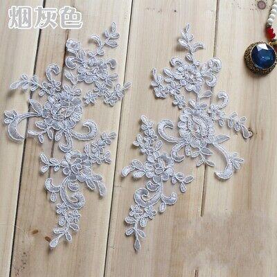 1Pair Embroidered Flower Lace Applique Motif Trim Wedding Dress Sew Crafts DIY 1 7