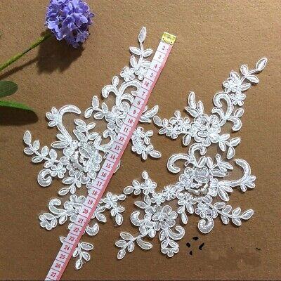 1Pair Embroidered Flower Lace Applique Motif Trim Wedding Dress Sew Crafts DIY 1 2