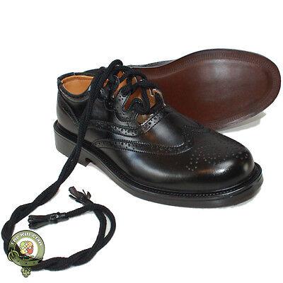 Ghillie Brogues Black Leather Ghillie Brogues Scottish Kilt Shoes UK Sizes 6-12 2