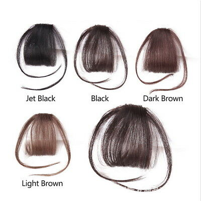Thin Neat Air Bangs Remy Human Hair Extensions Clip in on Fringe Front Hairpiece 4