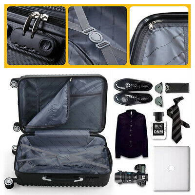 3PCS Luggage Set Carry On Trolley Suitcase Travel Spinner ABS+PC w/Cover Black 9