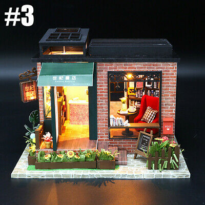 Mini DIY LED Wooden Dollhouse Miniature Wooden Furniture Kit Doll House 5